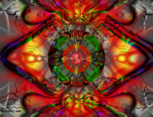 Gallery with abstract layered images and deeply textured with fractal related patterns vibrant as candy for the eyes.